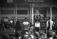 111th Paris-Roubaix 2013..winner Fabian Cancellara (CHE) lifting his 3rd Roubaix Trophy