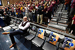 SIOUX FALLS, SD - MARCH 24: Northern State University assistant coach Sundance Wicks sits on the bench prior to the Division II Men's Basketball Championship held at the Sanford Pentagon on March 24, 2018 in Sioux Falls, South Dakota. Ferris State University defeated Northern State University 71-69. (Photo by Tim Nwachukwu/NCAA Photos via Getty Images)