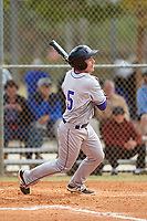 New York University Violets left fielder Adrian Spitz (5) at bat during a game against the Edgewood Eagles on March 14, 2017 at Terry Park in Fort Myers, Florida.  NYU defeated Edgewood 12-7.  (Mike Janes/Four Seam Images)