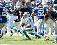 The Carolina Panthers played the New York Giants at Bank of America Stadium in Charlotte, NC.  The Panthers won 38-0 for their first victory of the season.  The Giants dropped to 0-3.  Carolina Panthers quarterback Cam Newton (1) runs