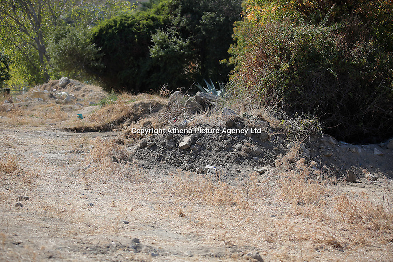 Pictured: Rubble at the new plot of land where a new search will take place in Kos, Greece. Thursday 06 October 2016<br />Re: Police teams led by South Yorkshire Police, searching for missing toddler Ben Needham on the Greek island of Kos have moved to a new area where rubble from the re-development of the farmhouse where he disappeared from was deposited in 1991.<br />Ben, from Sheffield, was 21 months old when he disappeared on 24 July 1991 during a family holiday.<br />Digging has begun at a new site after a fresh line of inquiry suggested he could have been crushed by a digger.