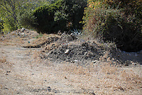 Pictured: Rubble at the new plot of land where a new search will take place in Kos, Greece. Thursday 06 October 2016<br />
