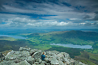 Kinloch Rannoch, Loch Rannoch and Dunalastair Water from the summit of Schiehallion, Perthshire