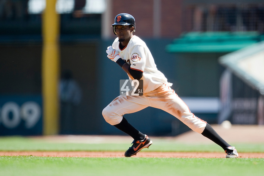 12 April 2008: #8 Eugenio Velez of the Giants tries to steal the second base during the St. Louis Cardinals 8-7 victory over the San Francisco Giants at the AT&T Park in San Francisco, CA.