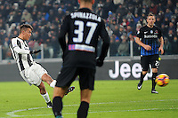 Calcio, Ottavi di finale di Tim Cup: Juventus vs Atalanta. Torino, Juventus Stadium, 11 gennaio 2017.<br /> Juventus&rsquo; Paulo Dybala kicks to score during the Italian Cup football round of 16 match between Juventus and Atalanta at Turin's Juventus Stadium, 8 January 2017. Juventus won 3-2 to join the quarter finals.<br /> UPDATE IMAGES PRESS/Manuela Viganti