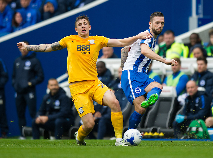 Brighton &amp; Hove Albion's Shane Duffy holds off the challenge from Preston North End's Jordan Hugill<br /> <br /> Photographer Ashley Western/CameraSport<br /> <br /> The EFL Sky Bet Championship - Brighton &amp; Hove Albion v Preston North End - Saturday 15th October 2016 - American Express Community Stadium - Brighton<br /> <br /> World Copyright &copy; 2016 CameraSport. All rights reserved. 43 Linden Ave. Countesthorpe. Leicester. England. LE8 5PG - Tel: +44 (0) 116 277 4147 - admin@camerasport.com - www.camerasport.com