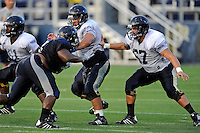 12 August 2011:  FIU's Giancarlo Revilla (53) and Kevin Van Kirk (67) block during a scrimmage held as part of the FIU 2011 Panther Preview at University Park Stadium in Miami, Florida.
