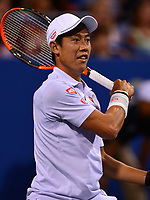 Washington, DC - August 4, 2017: Kei Nishikori plays during a quarterfinal match with Tommy Paul at the Citi Open held at the Rock Creek Tennis Center in Washington, D.C., August 4, 2017.  (Photo by Don Baxter/Media Images International)