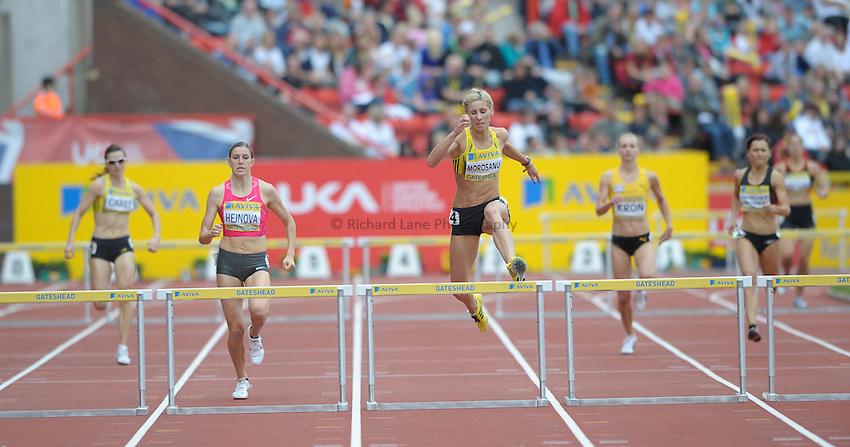 Photo: Ady Kerry/Richard Lane Photography..Aviva British Grand Prix. 31/08/2009. .Angela Morosanu wins the 400m hurdles
