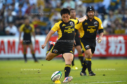 Kosei Ono (Sungoliath), .SEPTEMBER 22, 2012 - Rugby : Japan Rugby Top League 2012-2013, 4th Sec match between Suntory Sungoliath 42-17 Canon Eagles at Chichibunomiya Rugby Stadium, Tokyo, Japan. (Photo by Jun Tsukida/AFLO SPORT).