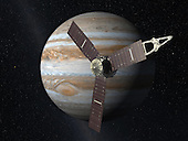 Launching from Earth in 2011, the Juno spacecraft will arrive at Jupiter in 2016 to study the giant planet from an elliptical, polar orbit. Juno will repeatedly dive between the planet and its intense belts of charged particle radiation, coming only 5,000 kilometers (about 3,000 miles) from the cloud tops at closest approach.  Juno's primary goal is to improve our understanding of Jupiter's formation and evolution. The spacecraft will spend a year investigating the planet's origins, interior structure, deep atmosphere and magnetosphere. Juno's study of Jupiter will help us to understand the history of our own solar system and provide new insight into how planetary systems form and develop in our galaxy and beyond. Juno's principal investigator is Scott Bolton of Southwest Research Institute in San Antonio, Texas. NASA's Jet Propulsion Laboratory in Pasadena, California, manages the mission. Lockheed Martin Space Systems of Denver, Colorado, is building the spacecraft. The Italian Space Agency, Rome, is contributing an infrared spectrometer instrument and a portion of the radio science experiment. .Credit: NASA/JPL via CNP