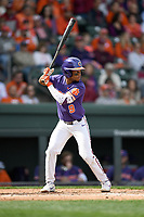 Second baseman Jordan Greene (9) of the Clemson Tigers bats in the Reedy River Rivalry game against the South Carolina Gamecocks on Saturday, March 2, 2019, at Fluor Field at the West End in Greenville, South Carolina. Clemson won, 11-5. (Tom Priddy/Four Seam Images)