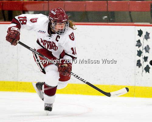 Cori Bassett (Harvard - 18) - The Harvard University Crimson defeated the Boston College Eagles 5-0 in their Beanpot semi-final game on Tuesday, February 2, 2010 at the Bright Hockey Center in Cambridge, Massachusetts.