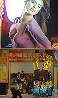 A Lycra bra advertisment on Beijing Lu shopping street in Guangzhou, China..