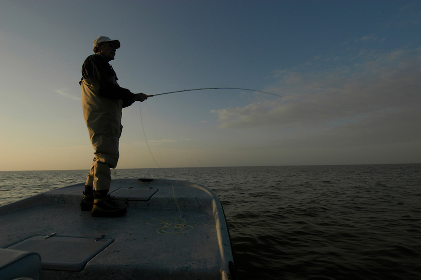 Fly fishing for Sea Trout and Red Drum on Matagorda Bay on the Texas coast, Gulf of Mexico.