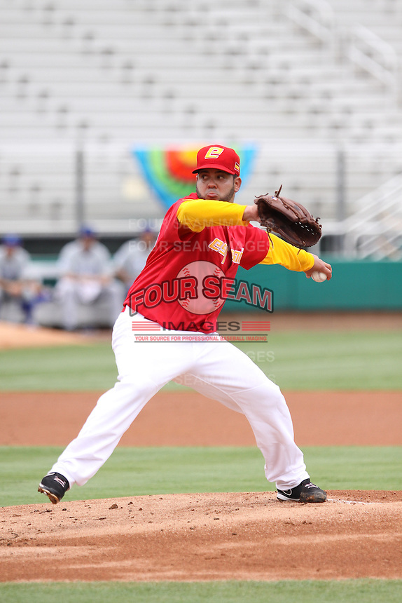 Richard Salazar of Team Spain pitches during a game against Team Israel during the World Baseball Classic preliminary round at Roger Dean Stadium on September 21, 2012 in Jupiter, Florida. Team Israel defeated Team Spain 4-2. (Stacy Jo Grant/Four Seam Images)