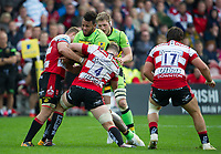 Northampton Saints' Courtney Lawes is tackled by Gloucester Rugby's Tom Savage <br /> <br /> Photographer Ashley Western/CameraSport<br /> <br /> Aviva Premiership - Gloucester v Northampton Saints - Saturday 7th October 2017 - Kingsholm Stadium - Gloucester<br /> <br /> World Copyright &copy; 2017 CameraSport. All rights reserved. 43 Linden Ave. Countesthorpe. Leicester. England. LE8 5PG - Tel: +44 (0) 116 277 4147 - admin@camerasport.com - www.camerasport.com