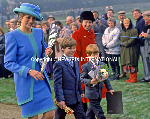PRINCE HARRY_21 years on<br /> Princess Diana, Prince William, Princess Anne and Prince Harry attending christmas day church service at St Mary Magdalene Church on the Sandringham Estate, 1991<br /> <br /> Prince Harry celebrates his 21st birthday on the 15th of September 2005.<br /> Mandatory Photo Credit: &copy;Dias/NEWSPIX INTERNATIONAL<br /> <br /> Mandatory credit photo:NEWSPIX INTERNATIONAL(Failure to credit will incur a surcharge of 100% of reproduction fees)<br /> <br /> **ALL FEES PAYABLE TO: &quot;NEWSPIX INTERNATIONAL&quot;**<br /> <br /> Newspix International, 31 Chinnery Hill, Bishop's Stortford, ENGLAND CM23 3PS<br /> Tel:+441279 324672<br /> Fax: +441279656877<br /> Mobile:  07775681153<br /> e-mail: info@newspixinternational.co.uk