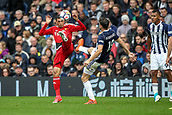 30th September 2017, The Hawthorns, West Bromwich, England; EPL Premier League football, West Bromwich Albion versus Watford; Craig Cathcart of Watford and Jay Rodriguez of West Bromwich Albion compete for the ball