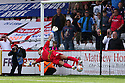 Jose Baxter of Oldham's penalty beats Chris Day of Stevenage for the winning goal<br />  Stevenage v Oldham Athletic - Sky Bet League 1 - Lamex Stadium, Stevenage - 3rd August, 2013<br />  © Kevin Coleman 2013