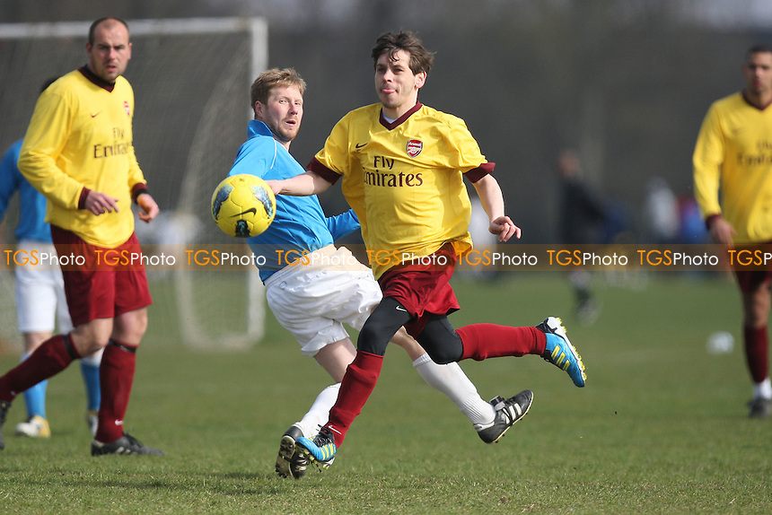 Chapel Old Boys (yellow) vs FC Status - Hackney & Leyton Sunday League Jack Morgan Cup Football at South Marsh, Hackney Marshes, London - 25/03/12 - MANDATORY CREDIT: Gavin Ellis/TGSPHOTO - Self billing applies where appropriate - 0845 094 6026 - contact@tgsphoto.co.uk - NO UNPAID USE.