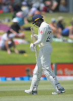 England's Jofra Archer walks off after being dismissed for 4 during day two of the international cricket 1st test match between NZ Black Caps and England at Bay Oval in Mount Maunganui, New Zealand on Friday, 22 November 2019. Photo: Dave Lintott / lintottphoto.co.nz