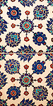 Iznik 10 - Stylized flower motifs on Iznik tiles in Rustem Pasa Mosque, Eminonu, Istanbul, Turkey