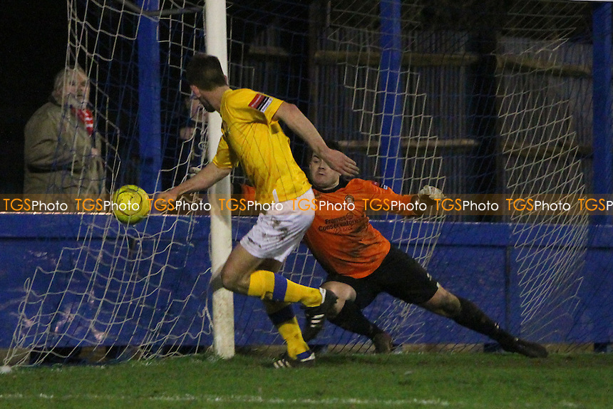 Carl Rook of AFC Hornchurch finds the net late in the game but his effort is ruled out for offside - Bury Town vs AFC Hornchurch - Ryman League Premier Division Football at Ram Meadow, Bury St Edmunds, Suffolk - 28/12/13 - MANDATORY CREDIT: Gavin Ellis/TGSPHOTO - Self billing applies where appropriate - 0845 094 6026 - contact@tgsphoto.co.uk - NO UNPAID USE