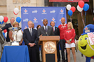 September 13, 2011 (Washington, DC)  Gregory Odell (podium), President, Events DC speaks before District of Columbia Mayor Vincent Gray issued a proclamation honoring the Washington Kastles at a press conference on Wednesday.  The Kastles won the WTT Championship with a perfect 16-0 season, the first in WTT history.  This marks the team's second championship in three seasons. (Photo by Don Baxter/Media Images International)