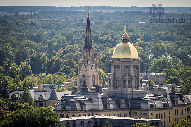 September 2, 2017; Aerial of the Main Building and Basilica. (Photo by Matt Cashore/University of Notre Dame)