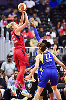 Washington, DC - August 12, 2018: Washington Mystics All-Star guard Elena Delle Donne (11) shoots a jump shot over Dallas Wings forward Cayla George (22) during game between the Washington Mystics and the Dallas Wings at the Capital One Arena in Washington, DC. (Photo by Phil Peters/Media Images International)
