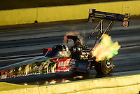 Sept. 21, 2012; Ennis, TX, USA: NHRA top fuel dragster driver Terry McMillen during qualifying for the Fall Nationals at the Texas Motorplex. Mandatory Credit: Mark J. Rebilas-