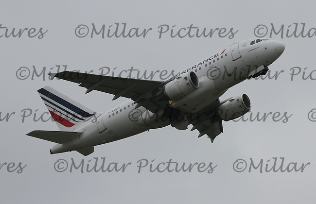 An Air France Airbus A318-111 Registration F-GUGP at Glasgow Airport on 4.6.16 going to Paris Charles de Gaulle Airport.