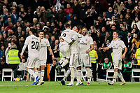 Real Madrid's Dani Carvajal (L) and Sergio Ramos (R) celebrate goal during La Liga match between Real Madrid and Valencia CF at Santiago Bernabeu Stadium in Madrid, Spain. December 01, 2018. (ALTERPHOTOS/A. Perez Meca) /NortePhoto NORTEPHOTOMEXICO