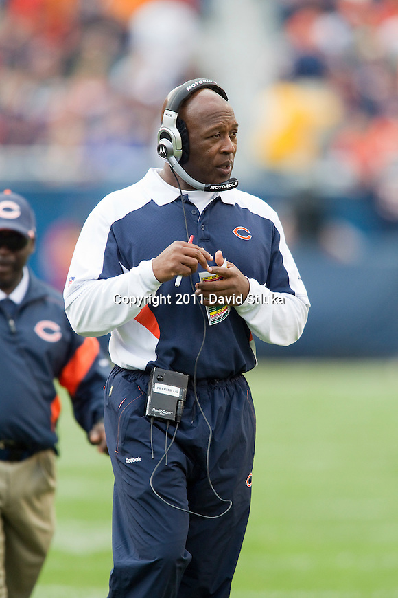 Chicago Bears Head Coach Lovie Smith looks on during a week 3 NFL football game against the Green Bay Packers on September 25, 2011 in Chicago. The Packers won 27-17. (AP Photo/David Stluka)