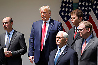 United States President Donald J. Trump stands after signing H.R. 7010 - PPP Flexibility Act of 2020 in the Rose Garden of the White House in Washington, DC on June 5, 2020.  Pictured, from left to right: US Secretary of Labor Eugene Scalia; the president; US Vice President Mike Pence; Tomas Philipson, Chairman of the Council of Economic Advisers; and Kevin A. Hassett, Chairman, Council of Economic Advisers.<br /> Credit: Yuri Gripas / Pool via CNP/AdMedia