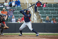 Braulio Vasquez (20) of the Rome Braves at bat against the Kannapolis Intimidators at Kannapolis Intimidators Stadium on April 7, 2019 in Kannapolis, North Carolina. The Intimidators defeated the Braves 2-1. (Brian Westerholt/Four Seam Images)