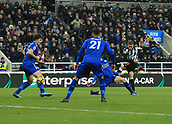 9th December 2017, St James Park, Newcastle upon Tyne, England; EPL Premier League football, Newcastle United versus Leicester City; Dwight Gayle of Newcastle United equalises in the 73rd minute with a deflected shot