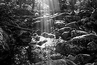 Sunbeams on Little Ray Brook near Ray Brook in the Adirondack Mountains in New York State