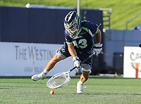 Annapolis, MD - July 7, 2018: Chesapeake Bayhawks Niko Amato (13) gets the ground ball during the game between New York Lizards and Chesapeake Bayhawks at Navy-Marine Corps Memorial Stadium in Annapolis, MD.   (Photo by Elliott Brown/Media Images International)