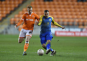 18/12/18 The Emirates FA Cup, 2nd Round Replay Blackpool v Solihull Moor<br /> <br /> Jamey Osbourne challenges with Callum Guy