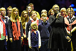 Berlin, Germany, February 01: Chorus performs the German national anthem before the 1. Bundesliga Damen Hallensaison 2014/15 final hockey match between Duesseldorfer HC (white) and HTC Uhlenhorst Muehlheim (green) on February 1, 2015 at the Final Four tournament at Max-Schmeling-Halle in Berlin, Germany. (Photo by Dirk Markgraf / www.265-images.com) *** Local caption ***