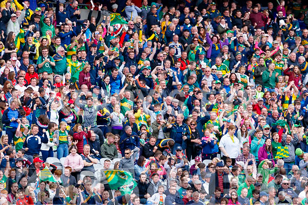 Kerry Spectators celebrate Stephen O'Brien's goal during the All Ireland Senior Football Semi Final between Kerry and Tyrone at Croke Park, Dublin on Sunday.