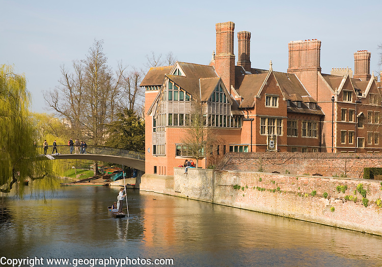Punting on the River Cam by the Jerwood Library, Trinity Hall College, Cambridge university, England