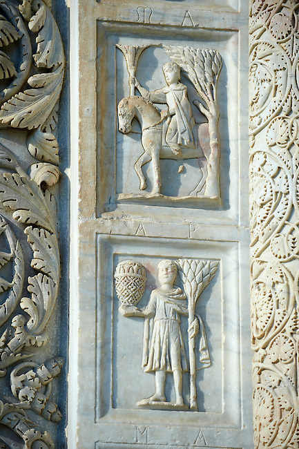 Medieval Sculptures of the Door of the Bapistry of Pisa, Italy
