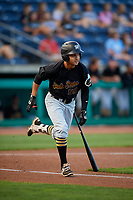 West Virginia Black Bears designated hitter Fabricio Macias (59) runs to first base during a game against the State College Spikes on August 30, 2018 at Medlar Field at Lubrano Park in State College, Pennsylvania.  West Virginia defeated State College 5-3.  (Mike Janes/Four Seam Images)