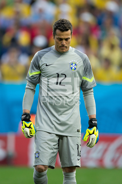Brazil goalkeeper Julio Cesar looks dejected