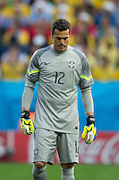 Brazil goalkeeper Julio Cesar looks dejected