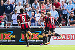 V&auml;llingby 2014-07-06 Fotboll Allsvenskan IF Brommapojkarna - Malm&ouml; FF :  <br />  Brommapojkarnas Jesper Karlstr&ouml;m har kvitterat till 1-1 och jublar med Nicklas B&auml;rkroth och Serge-Junior Martinsson Ngouali framf&ouml;r Malm&ouml;s supportrar<br /> (Foto: Kenta J&ouml;nsson) Nyckelord:  BP Brommapojkarna IFB Grimsta Malm&ouml; MFF jubel gl&auml;dje lycka glad happy