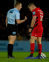 Referee Thomas Foley talks to Saracens' Owen Farrell<br /> <br /> Photographer Bob Bradford/CameraSport<br /> <br /> Gallagher Premiership Round 10 - Exeter Chiefs v Saracens - Saturday 22nd December 2018 - Sandy Park - Exeter<br /> <br /> World Copyright &copy; 2018 CameraSport. All rights reserved. 43 Linden Ave. Countesthorpe. Leicester. England. LE8 5PG - Tel: +44 (0) 116 277 4147 - admin@camerasport.com - www.camerasport.com